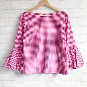 Laundry by Shelli Segal Balloon-cuff Gingham Blous